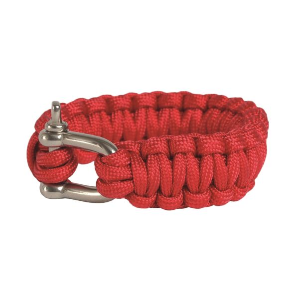 Survival Paracord Bracelet Metallverschluss rot