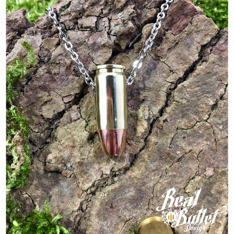 Real Bullet Design Halskette Single Bullet .9 mm HP Messing