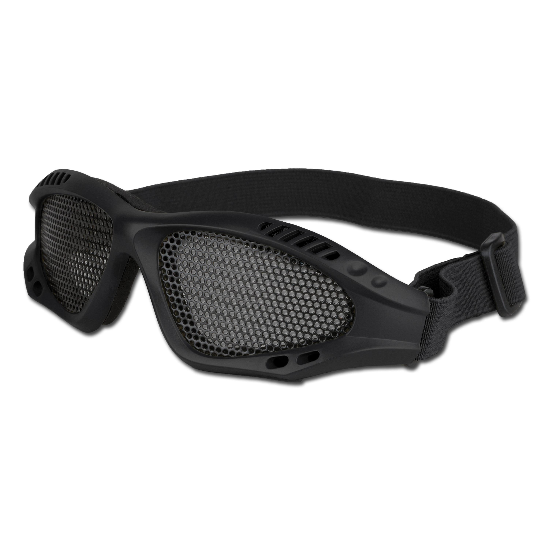 Airsoftbrille mit Metallgittereinsatz schwarz