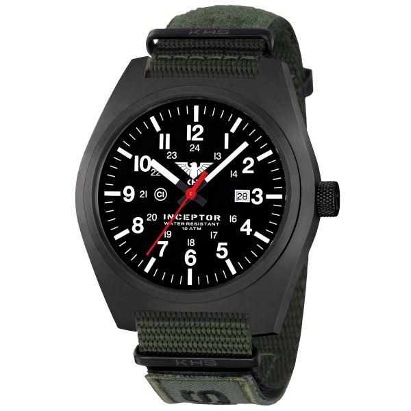 KHS Uhr Inceptor Black Steel XTAC Natoband oliv