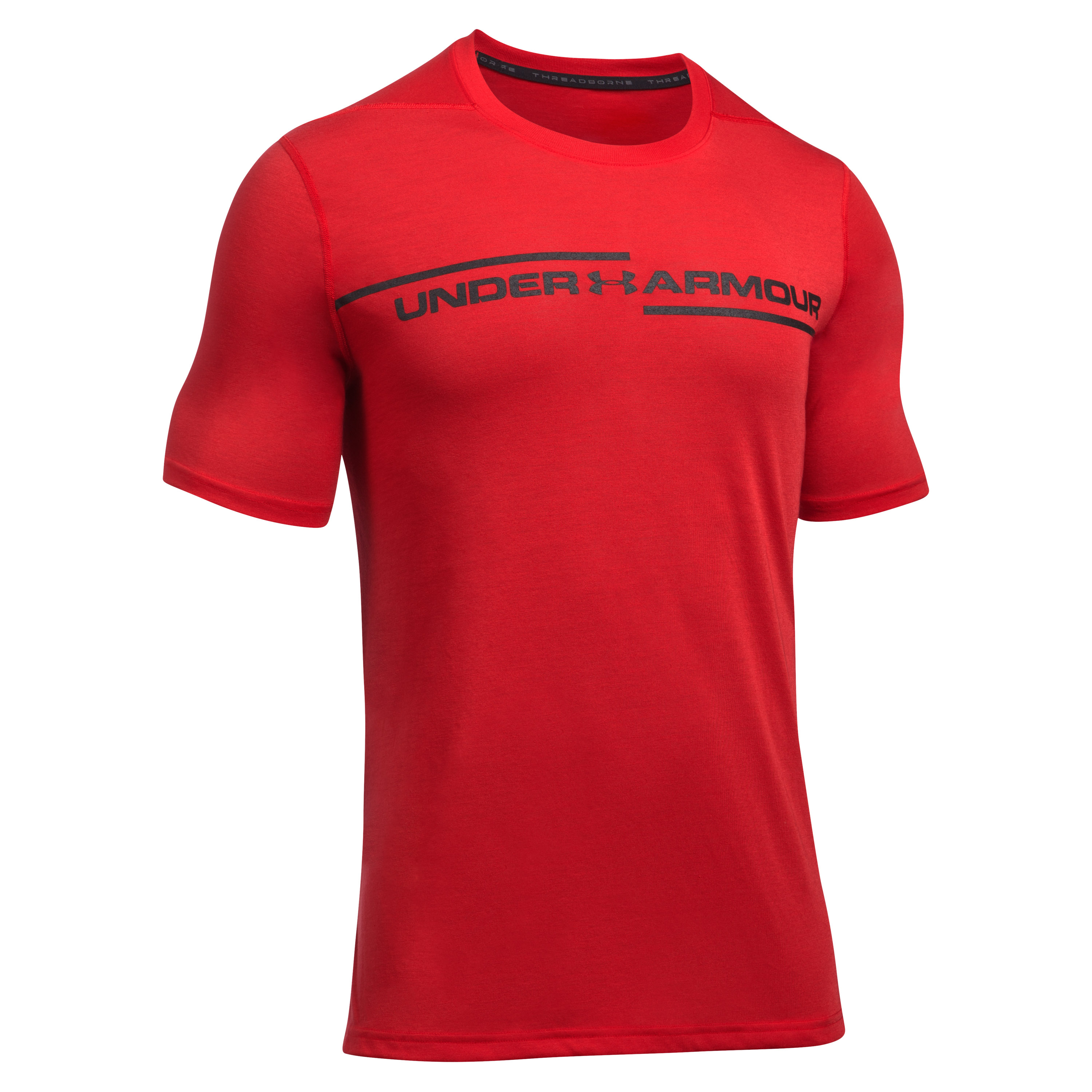 Under Armour T-Shirt Threadborne Cross Chest rot-schwarz