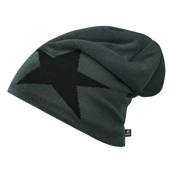 Brandit Beanie Jersey Star grau schwarz