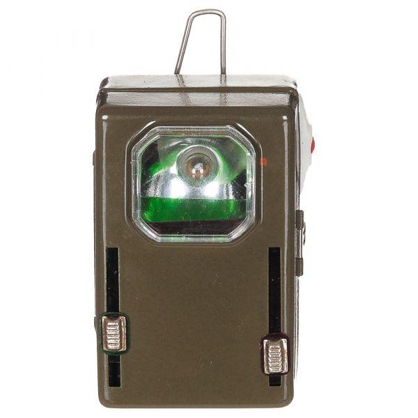 Polnische Taschenlampe 3 Farben Metall Öse oliv neuwertig