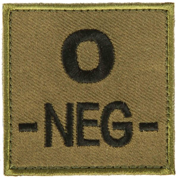 T.O.E Blutgruppenpatch Blutgruppe 0 negativ grün