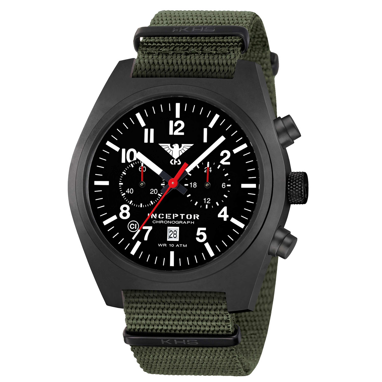 KHS Uhr Inceptor Black Steel Chronograph Natoband oliv