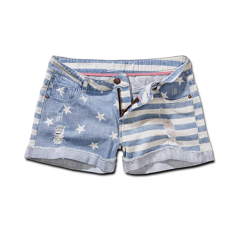 Brandit Denim Hotpants stars+stripes hellblau