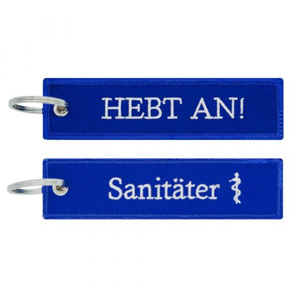 Café Viereck Schlüsselanhänger Sanitäter Hebt An blau