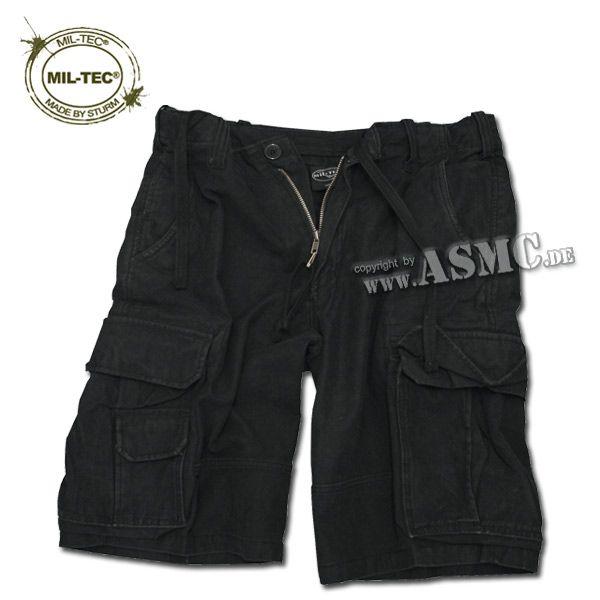 Aviator Shorts Mil-Tec Satin washed schwarz