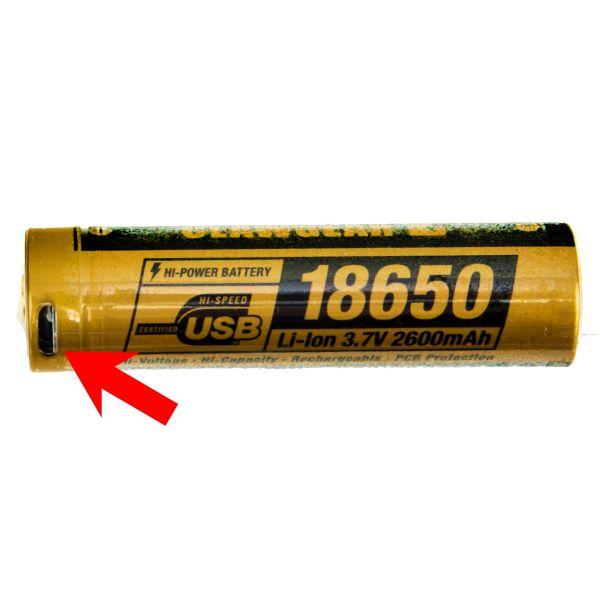 ClawGear Akku 18650 3.7V 2600mAh Micro-USB