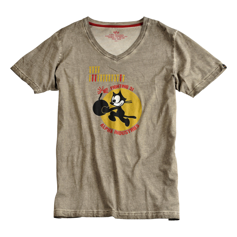 Alpha Industries T-Shirt Bomb Cat oliv