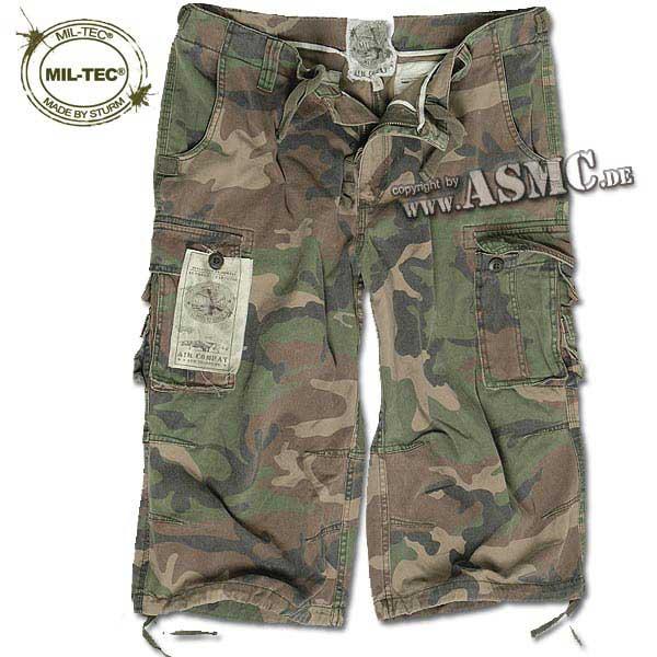 Air Combat 3-4 Shorts Mil-Tec washed woodland