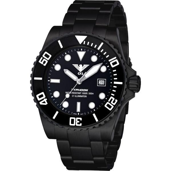 KHS Uhr Typhoon Black Steel Stahlband