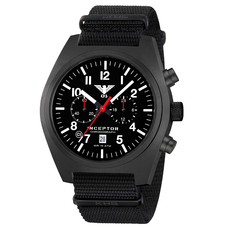 KHS Uhr Inceptor Black Steel Chronograph Natoband schwarz