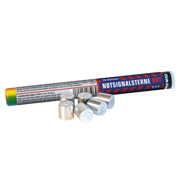 Zink Feuerwerk Notsignalsterne Rot 15 mm 10 Stück