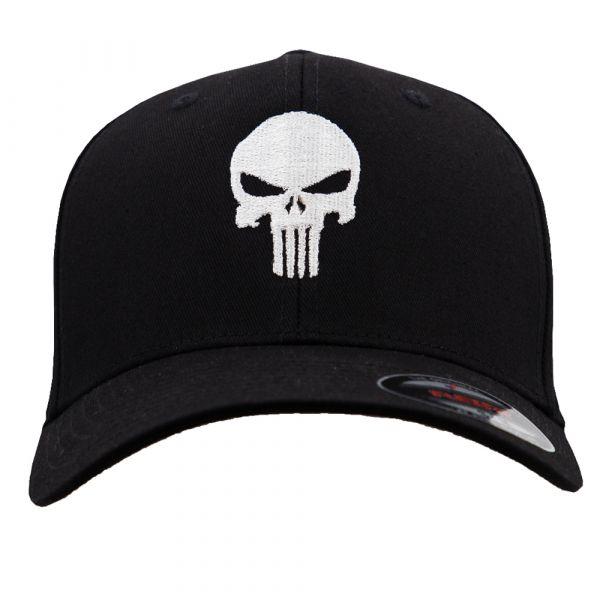 Café Viereck Flexfit Cap Punisher schwarz weiß