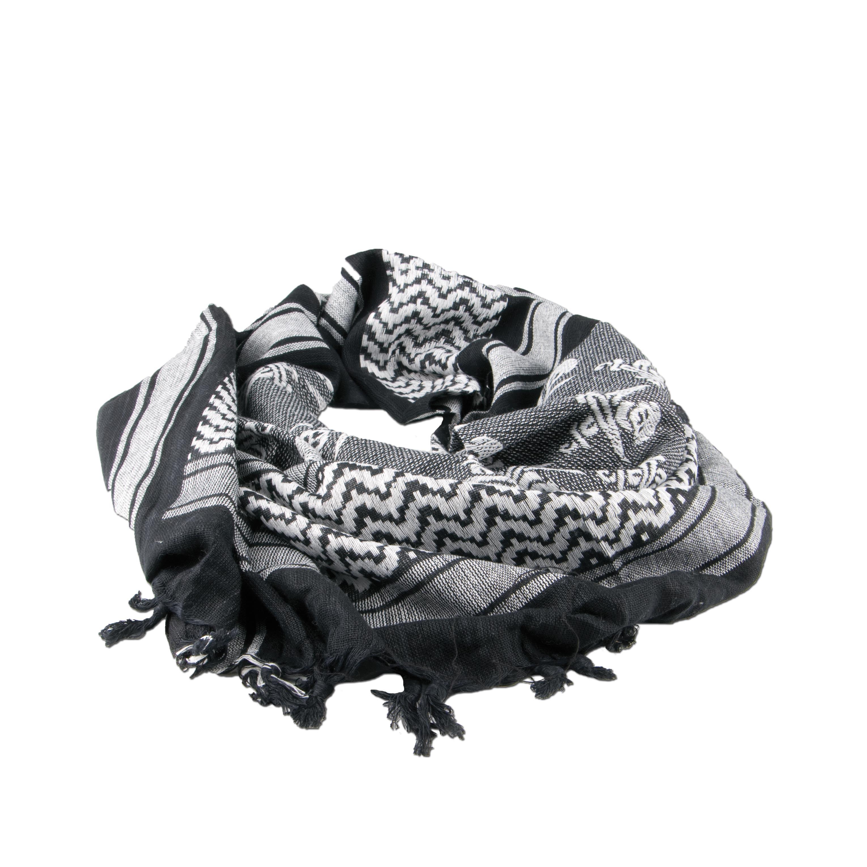 Shemag schwarz-weiß mit Totenköpfen