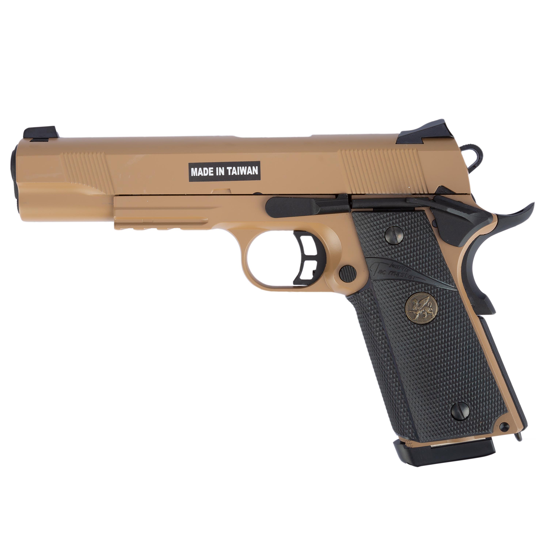 KJ Works Airsoft Pistole M1911 MEU Full Metal GBB tan