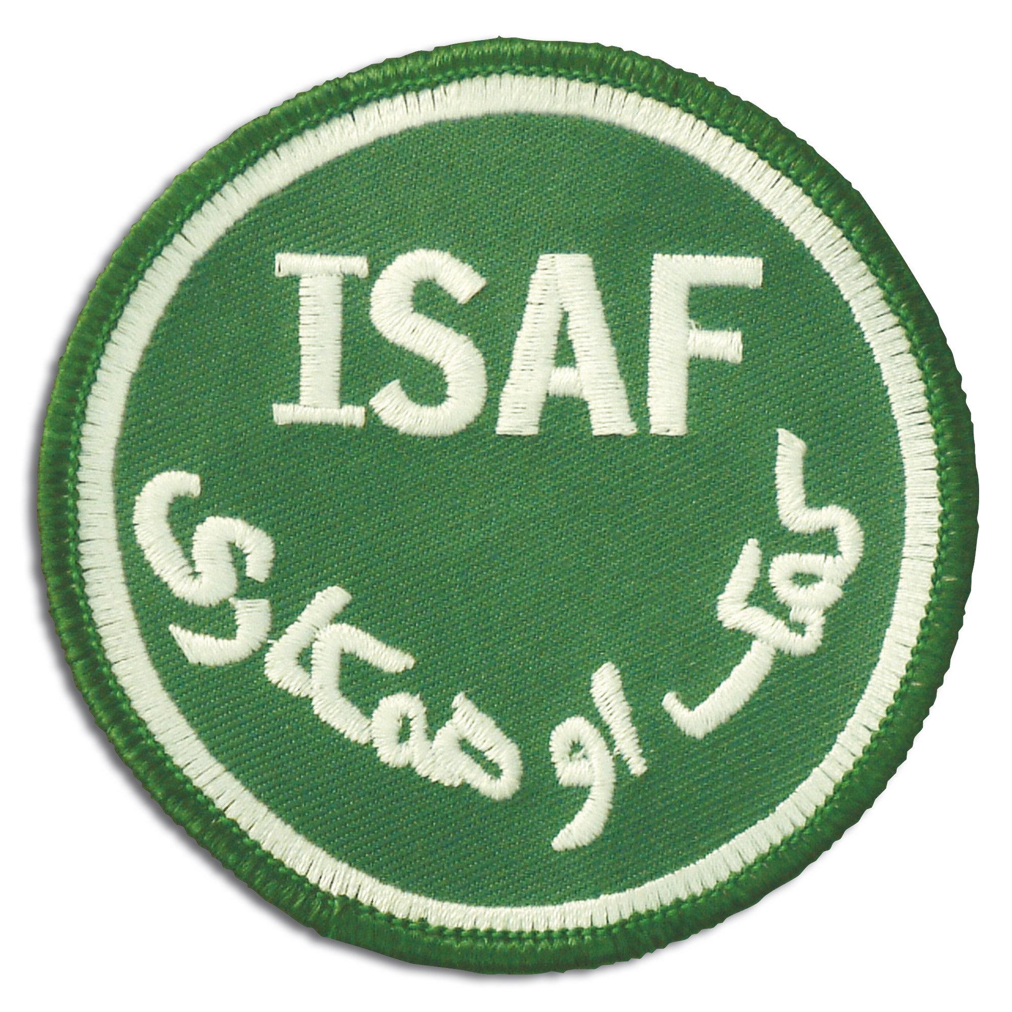 Abzeichen ISAF rund grün Klett