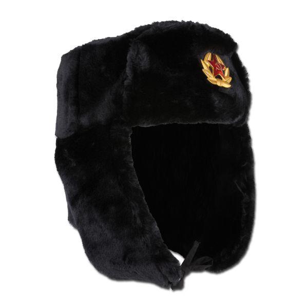 Russische Fellmütze mit Abzeichen schwarz