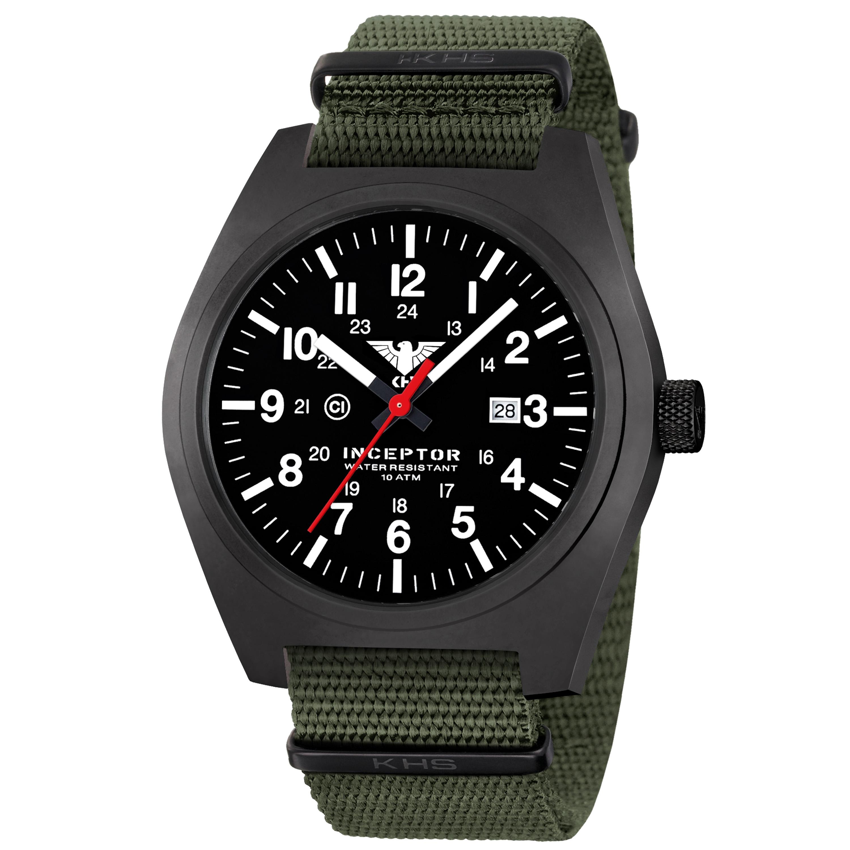 KHS Uhr Inceptor Black Steel Natoband oliv