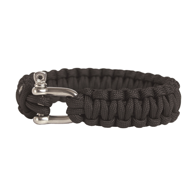 Survival Paracord Bracelet Metallverschluss schwarz