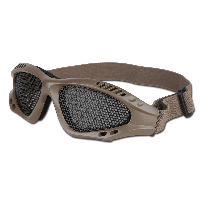 Airsoftbrille mit Metallgittereinsatz beige