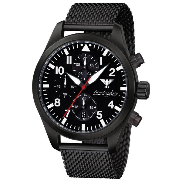 KHS Uhr Airleader Black Steel Chronograph Maschenband