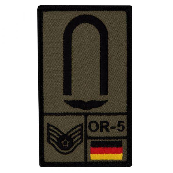 Café Viereck Rank Patch Unteroffizier Luftwaffe oliv