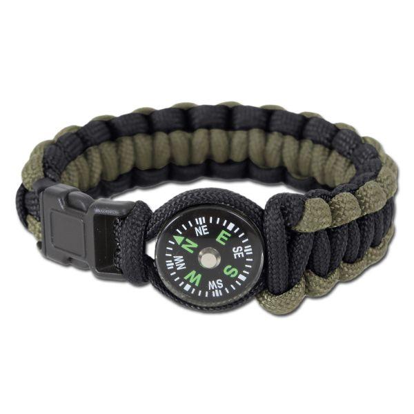 Rothco Bracelet W/Compass Schwarz/Oliv